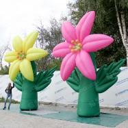 Надувные конструкции гигантские цветы лилии желтая и розовая