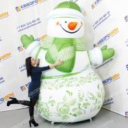 Новогодняя расписная декорация Снеговик