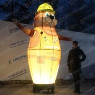 объемная воздушная фигура бобер зазывала в темноте с подсветкой