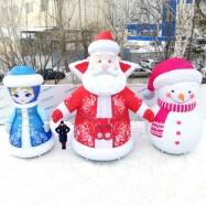 объемные воздушные новогодние фигуры дед мороз надувная снегурочка и снеговик