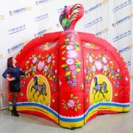Надувная палатка с пневмокаркасом Городецкая роспись