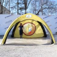 Надувная конструкция палатка герметичная желтая четырехопорная 4х4м