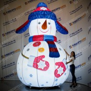 Снеговик в ушанке с подсветкой надувной