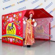 Палатка на металлическом каркасе с городецкой росписью