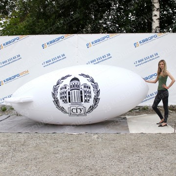 Аэрореклама надувной белый дирижабль с логотипом