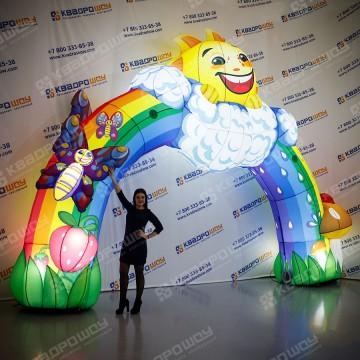 Надувная Арка радуга с дополнительными элементами и подсветкой