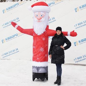 Большая уличная новогодняя фигура дед мороз с машущей рукой