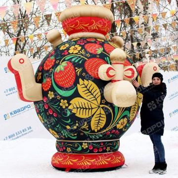 большой надувной самовар в русском народном стиле хохлома на масленицу