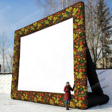 Надувной экран для уличного кинотеатра Черная хохлома