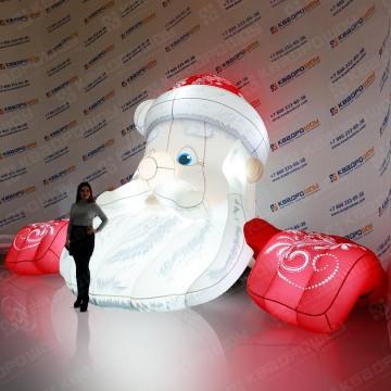 Надувная голова Деда Мороза с подсветкой