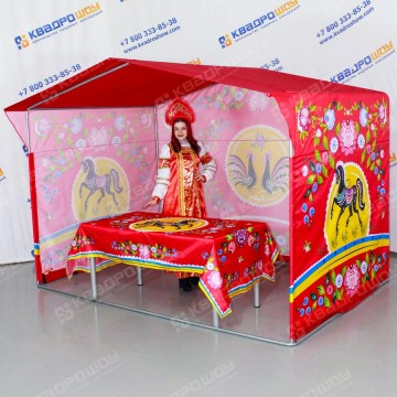 Торговая палатка со скатертью городецкая роспись