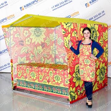 каркасная торговая палатка ярмарочная в стиле хохлома