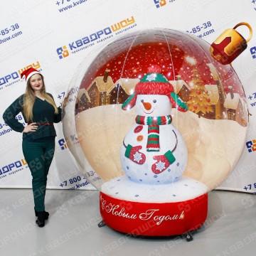 Новогодняя надувная игрушка шар со снеговиком внутри