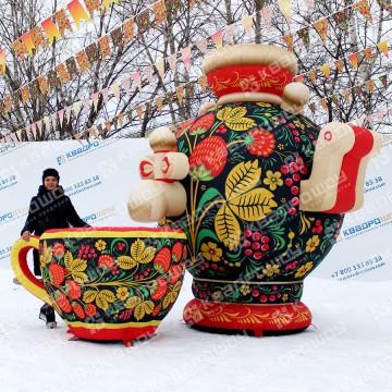 масленичные декорации гигантский самовар и надувная чашка черная хохлома