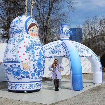 Пневмофигура матрешка и палатка 4м в народном стиле