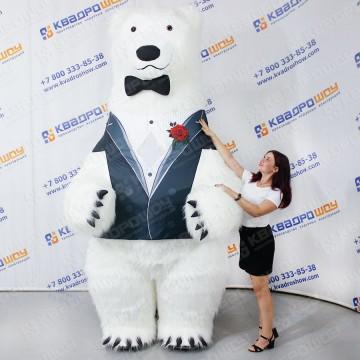 Меховой костюм Белый медведь в смокинге