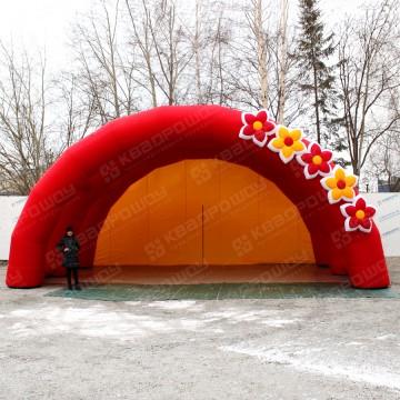 мобильная надувная сцена красная с цветами на праздник