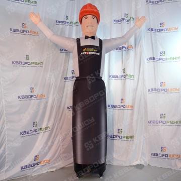 Пневмофигура рекламная мастер с подсветкой оранжевая каска