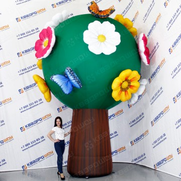 Пневмофигура дерево с цветами и бабочками