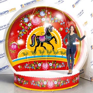 Надувная фотозона чудо-шар Городецкая роспись