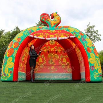 Надувная палатка зеленая Хохлома