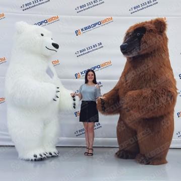 надувная кукла меховой белый медведь