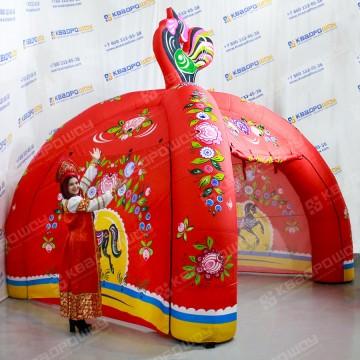 Надувная палатка с городецкой росписью