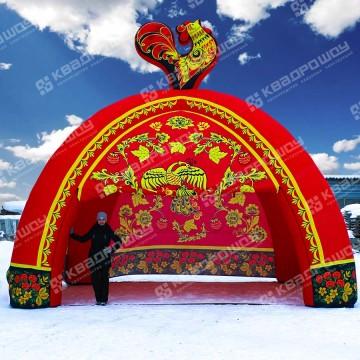 Надувная торговая палатка Хохлома