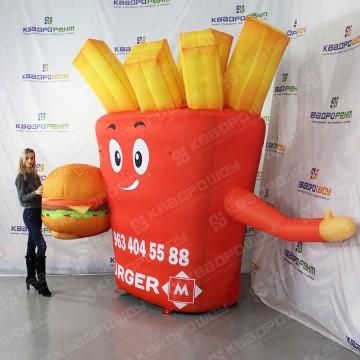 Надувная рекламная фигура пачка картошки фри с машущей рукой