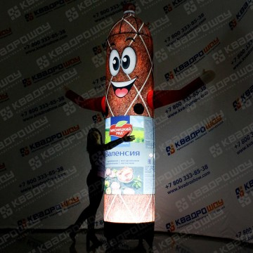 надувная рекламная конструкция колбаса зазывала с подсветкой