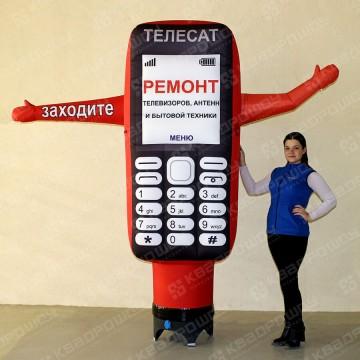 Надувная рекламная конструкция телефон с машущей рукой
