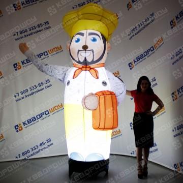 надувная ростовая кукла повар с подсветкой