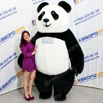 Ростовой надувной костюм Панда меховая