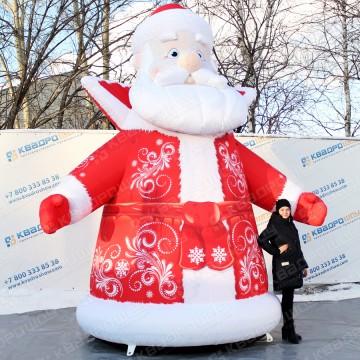 надувная уличная фигура дед мороз в красной шубе