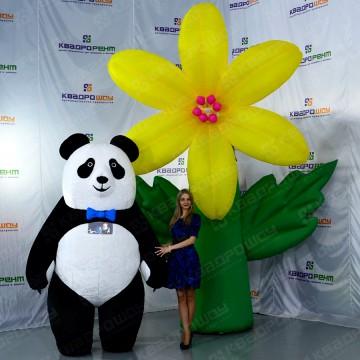 Надувная Панда и надувной цветок Лилия