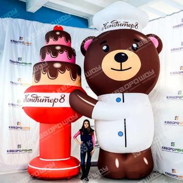 Надувная конструкция Медведь с тортом