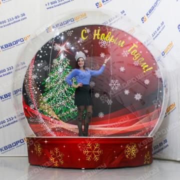Новогодняя полусфера надувной чудо шар