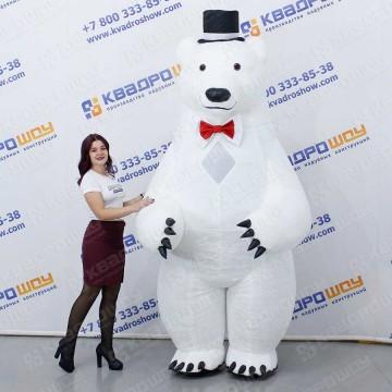 надувной костюм для праздника медведь белый