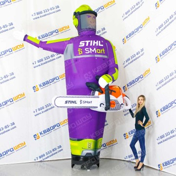Надувной человек с бензопилой штиль фиолетовый