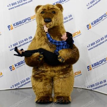 Надувная ростовая кукла Мишка Тедди бежевый в рубашке