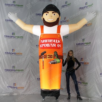 Рекламная фигура надувной строитель в оранжевом комбинезоне