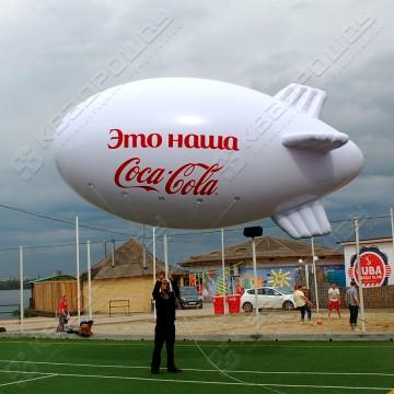 Надувная реклама в воздухе, на небе Дирижабль
