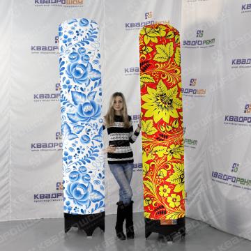 надувные колонны на праздник в расцветке хохлома и гжель