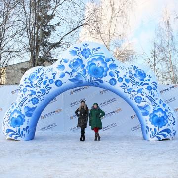 Надувные ворота арка гжель 8х4,5м