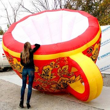 Огромная объемная фигура чашка хохлома на масленицу