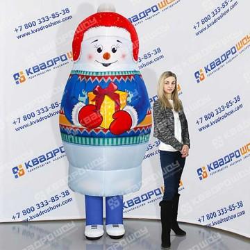 Надувной костюм матрешка Снеговик