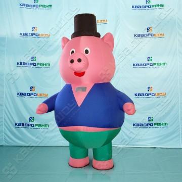 Надувной костюм (ростовая кукла надувная) Свинья в цилиндре