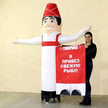 Уличная ростовая фигура продавец зазывала со сменными баннерами