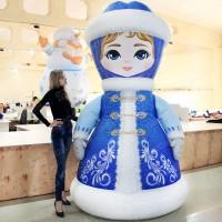 Надувной новогодний костюм Снегурочка