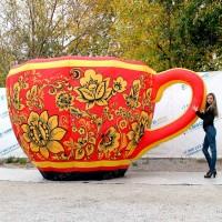 Надувная чашка с хохломской росписью